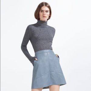 Zara Blue Leather Skirt